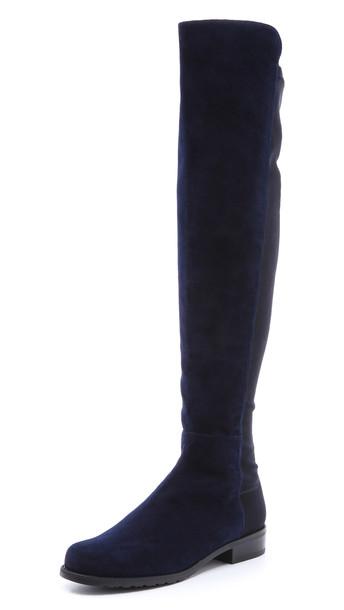 Stuart Weitzman 5050 Stretch Suede Boots - Nice Blue