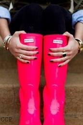 shoes,hunter,hot pink,wellies,hunter rain boots,pink
