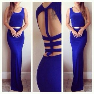 dress blue cut-out long dress