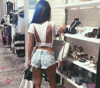 top sexy top open back backless white top denim shorts