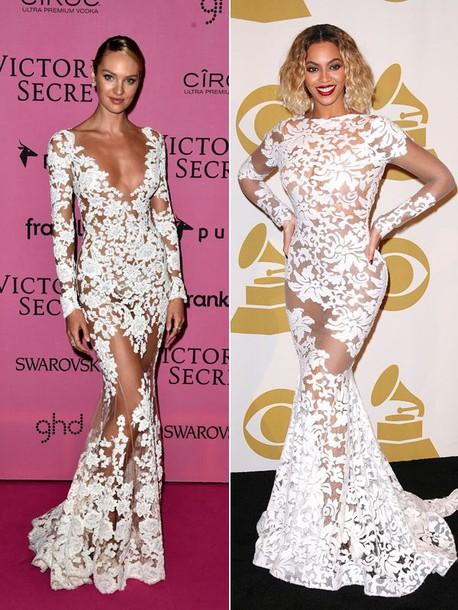 white lace dress candice swanepoel beyonce dress long dress
