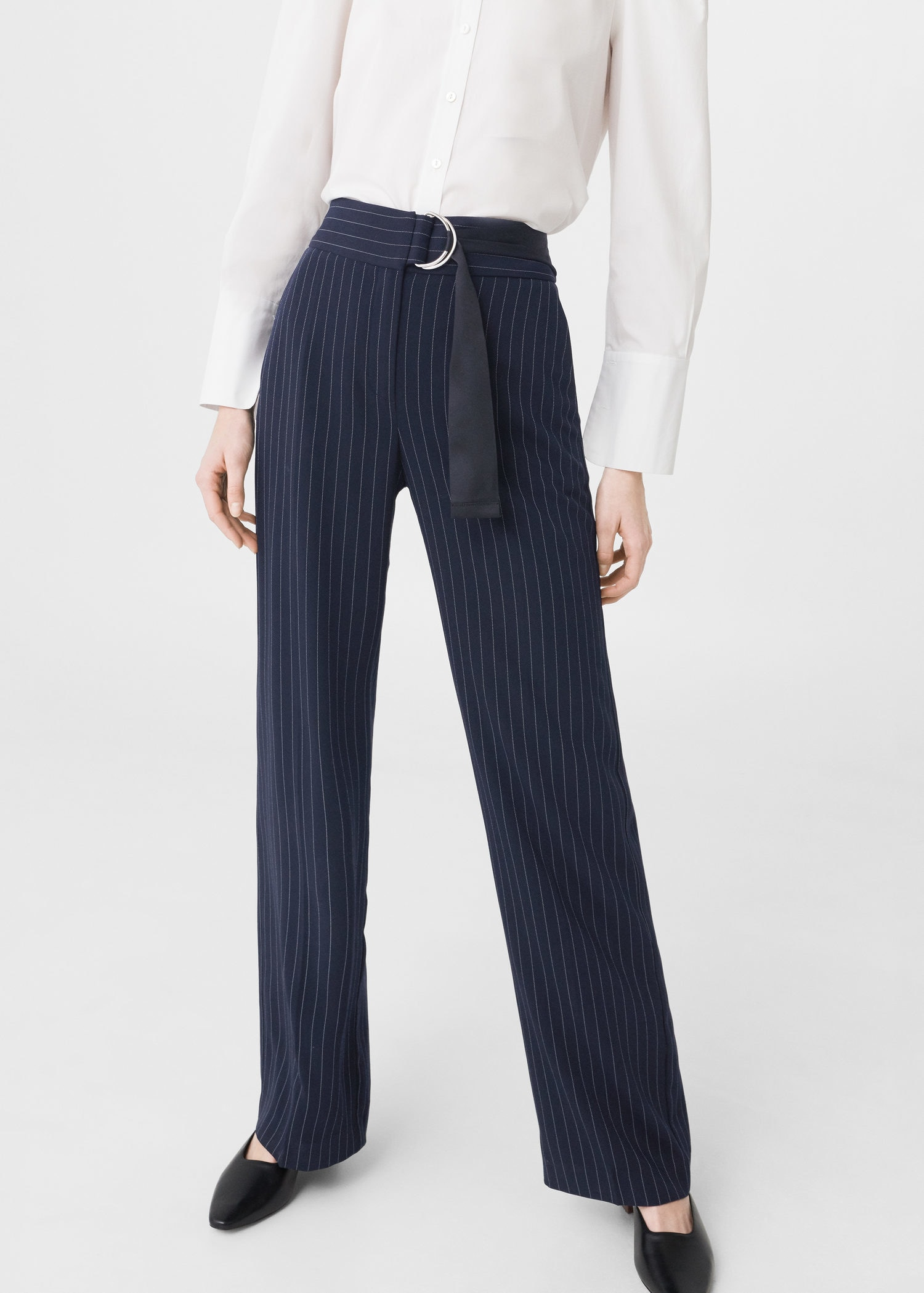 Chalk-stripe pants - Women | MANGO USA