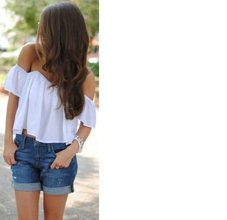 top white top crop tops white crop tops off the shoulder white blouse boho festival cute shirt