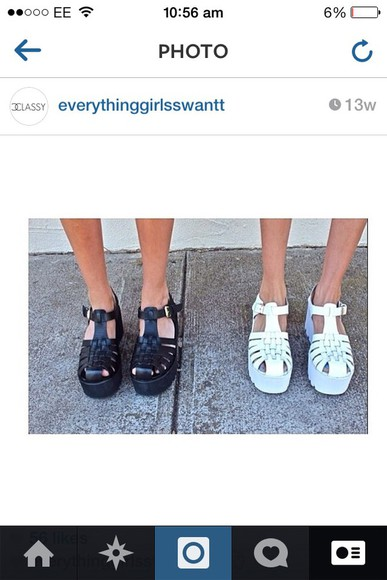 shoes platform shoes white cute jelly shoes black black and white pretty shoes amazing love