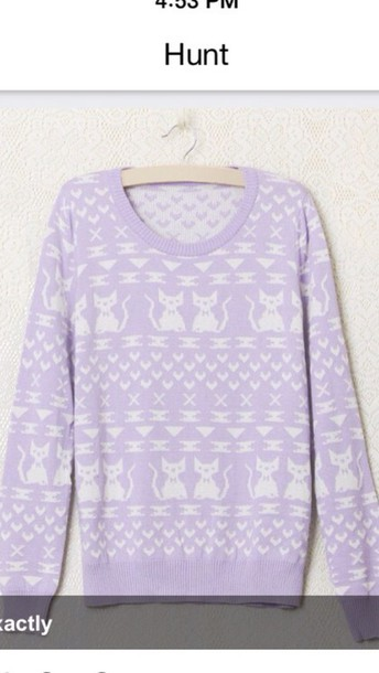 sweater purple cat sweater cats pullover cat sweatshirt
