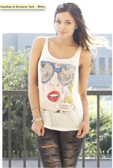 cartoon girly top goodbye to romance graphic tee graphic tank top graphics tank top cartoon tank hipster girl backless muscle tank