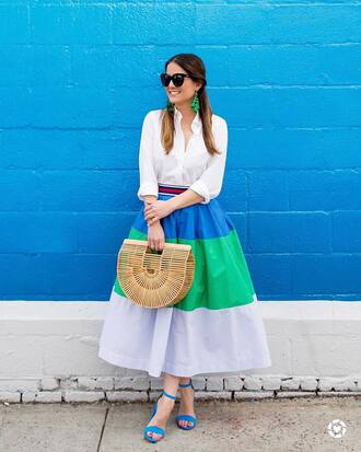 skirt tumblr midi skirt stripes striped skirt shirt white shirt bag basket bag sandals sandal heels high heel sandals sunglasses shoes