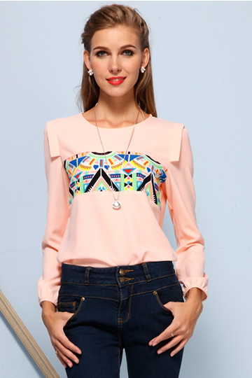 Colors Triangle Chiffon Shirt in Pink [FDBI00572] - PersunMall.com