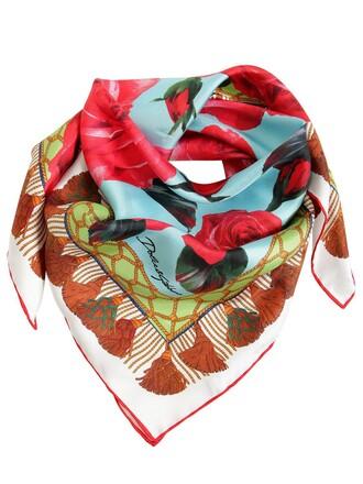 scarf silk satin roses light blue light blue