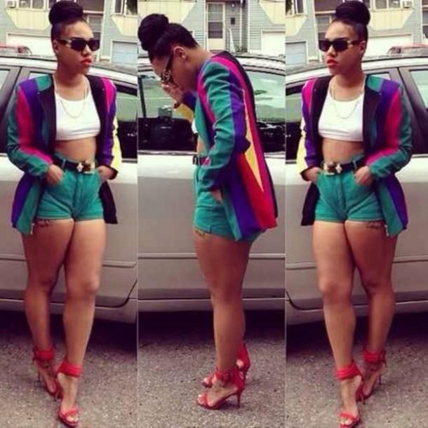 90s Black Fashion Girl: Cardigan, Blazer, Vintage, 90s Style, High Heels, Shorts
