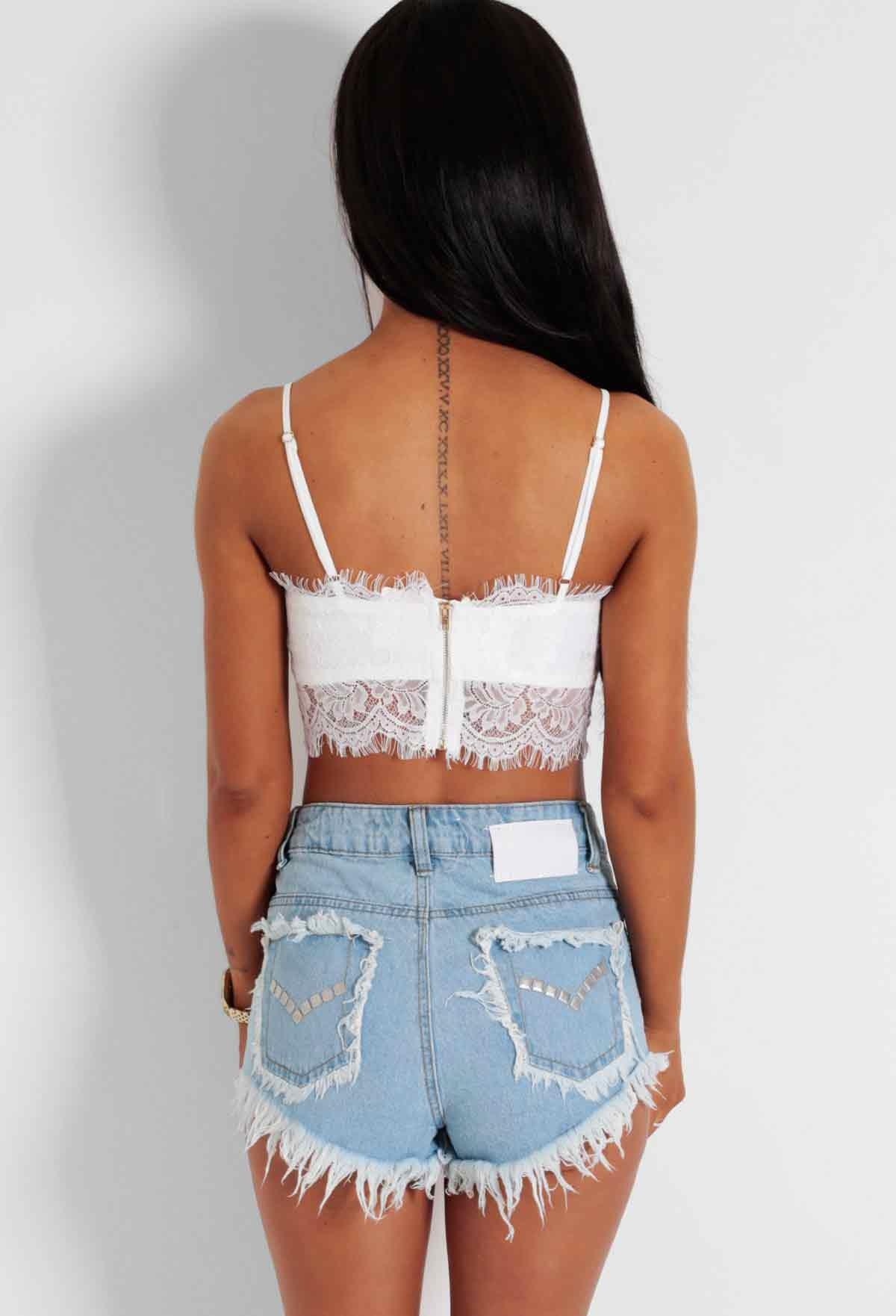Ice Breaker White Lace Bralet Crop Top | Pink Boutique