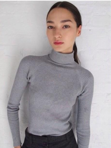 sweater turtleneck grey