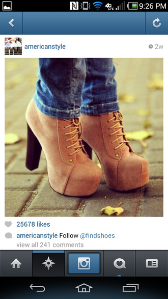 shoes brown platform high heels lace up ankle boots
