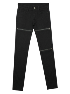 Black skinny pants with zipper detail