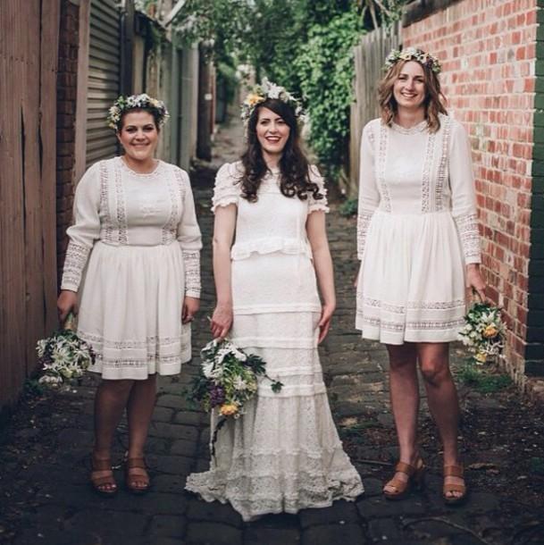 Dress Wedding Bohemian Long Sleeve Sleeves Blonde White Clothes Boho