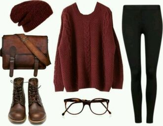 sweater pull burgundy shoes bonnet pantalon noir bag hat pants back to school fall outfits shirt burgundy sweater boots beanie colorful purse leggings black leggings bookbag leather bag