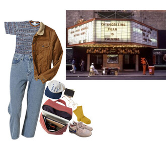 jacket tan jacket tan brown brown jacket colorful gap hat gap hat 90s style backpack pink pink bag pink backpack pastel nikes nikes shoes shoes white blue yellow yellow socks socks wallet money glasses jeans blue jeans movies movie theater theater cinema bag