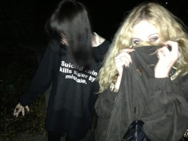 sweater grunge dark twins suicide shirt suicidal twin kills sister by mistake oversized rad girl black t-shirt grunge t-shirt indie alternative alternative black