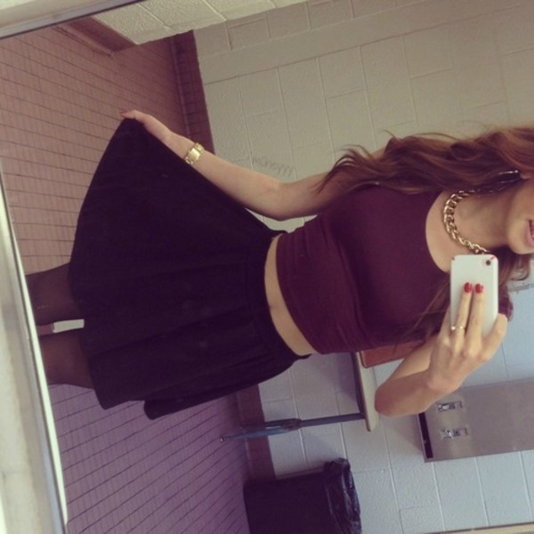 skirt black skirt tank top skater skirt burgundy jewels gold chain gold necklace belt
