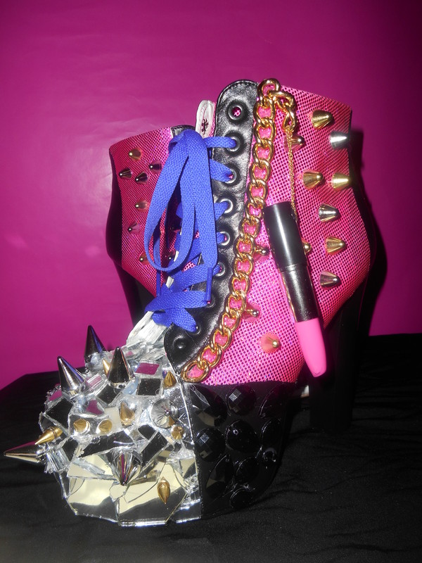 shoes heels jeffrey campbell lita custom hot pink mirror spikes hot new lipstrick lipstick chain purple studz gems black silver gold