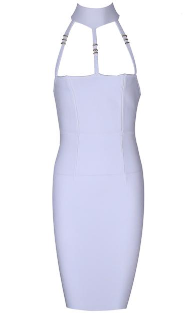 Halter Straps Midi Bandage Dress White