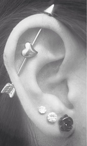 jewels,ear piercings,piercing,pretty,iwantthissobad,arrow,flower stud earrings,gorgeous,cupid,industrial,claire's,love,earings,silver,piecing,peri.marie