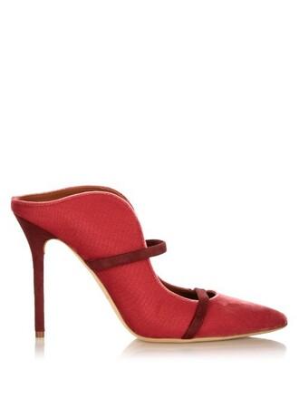 mules velvet dark pink shoes