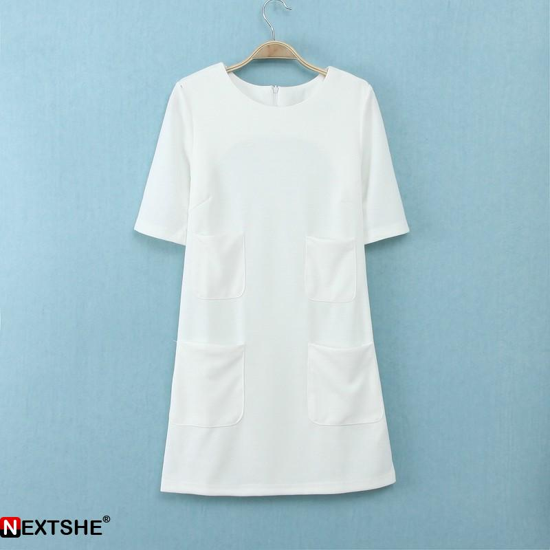 White short sleeve plain mini dress with pockets