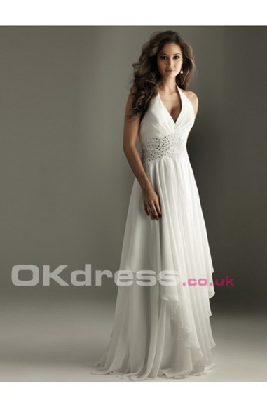 dress halter dress white dress chiffon dress long dress