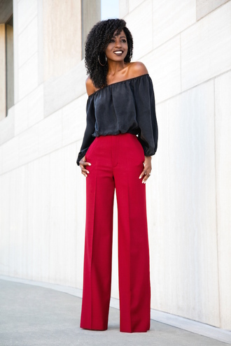 blogger black blouse satin blouse red pants office outfits