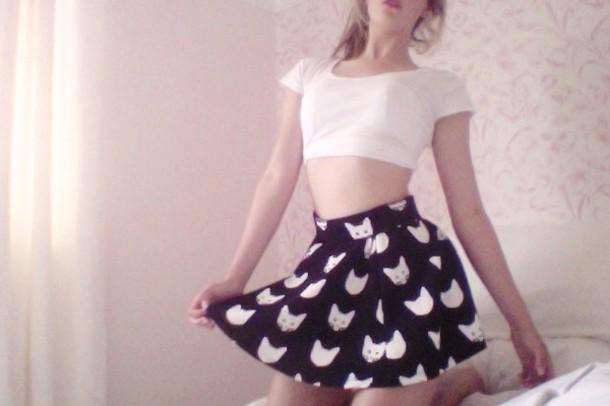 skirt black cats high waisted cat skirt black skirt shirt