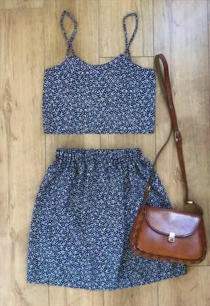 skirt co-ord blue tank top crop tops print dress two piece dress set