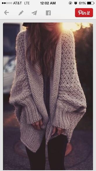 sweater chunky knit sweater grey sweater oversized cardigan oversized