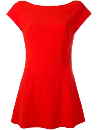 top pleated women spandex red