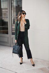 coat,tumblr,green coat,denim,jeans,black jeans,pumps,pointed toe pumps,high heel pumps,bag,black bag,bodysuit,sunglasses,underwear,shoes,missguided,revolve clothing