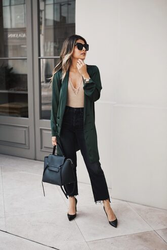 coat tumblr green coat denim jeans black jeans pumps pointed toe pumps high heel pumps bag black bag bodysuit sunglasses underwear shoes missguided revolve clothing