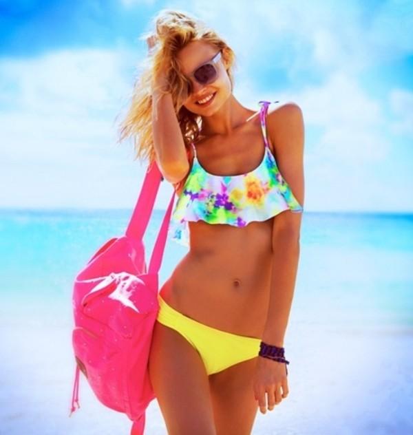 swimwear ruffled bikini colorful backpack pink pink sunglasses