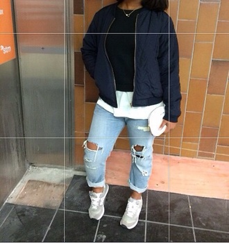 coat navy chubbies jeans ripped jeans white t-shirt white boyfriend jeans boyfriend tshirt boyfriend coat navy coat style swag trench coat trendy nice new balance sneakers blouse blue skinny jeans denim shoes