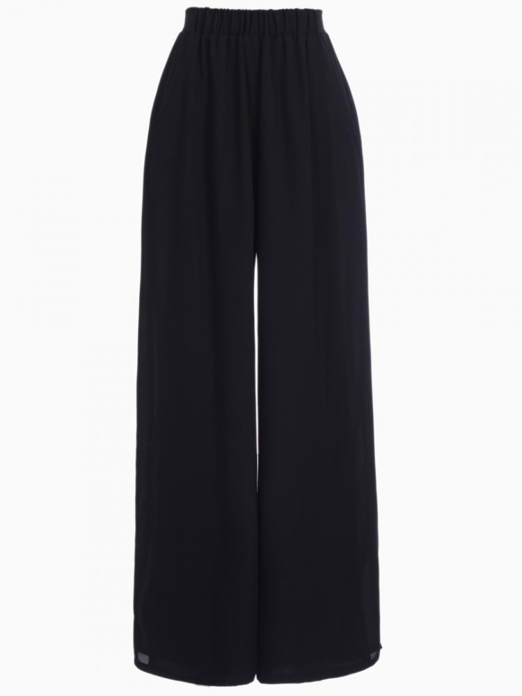 Elastic High Waist Chiffon Wide Leg Pants in Black | Choies