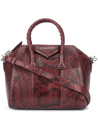 mini women python bag tote bag red