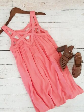 dress coral fashion summer trendy spring girly beautiful gamiss