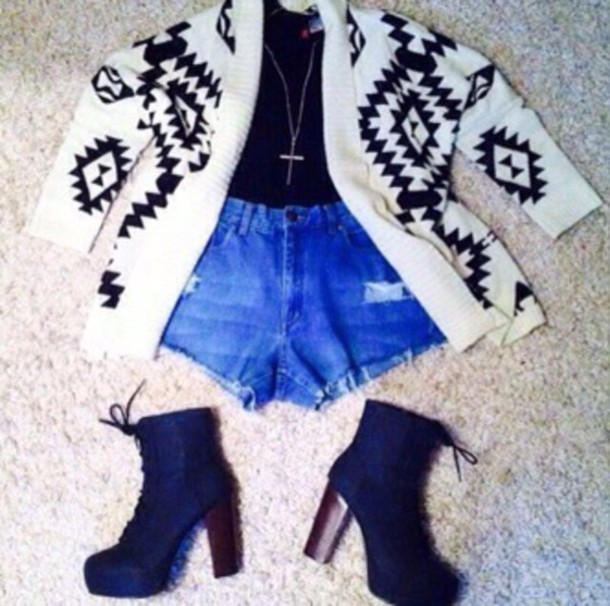 cardigan shorts shoes