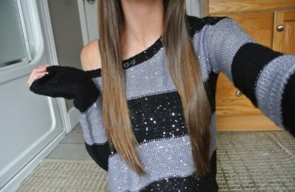 sparkle blouse grey sweater
