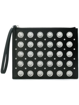 studded women clutch black bag