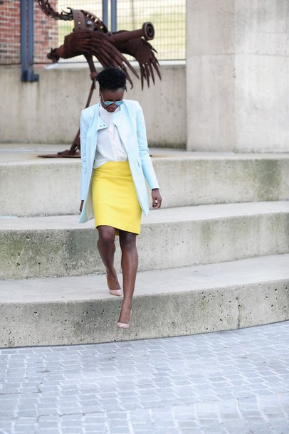 skinny hipster blogger light blue blue coat yellow skirt white blouse