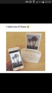 phone cover,polaroid camera,printer,pictures,camera