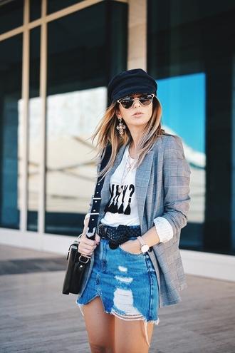 jacket hat tumblr blazer grey blazer sunglasses skirt mini skirt denim denim skirt