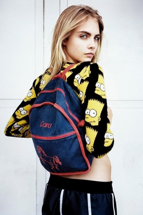 sweater bart simpson the simpsons jumper bag cara delevingne