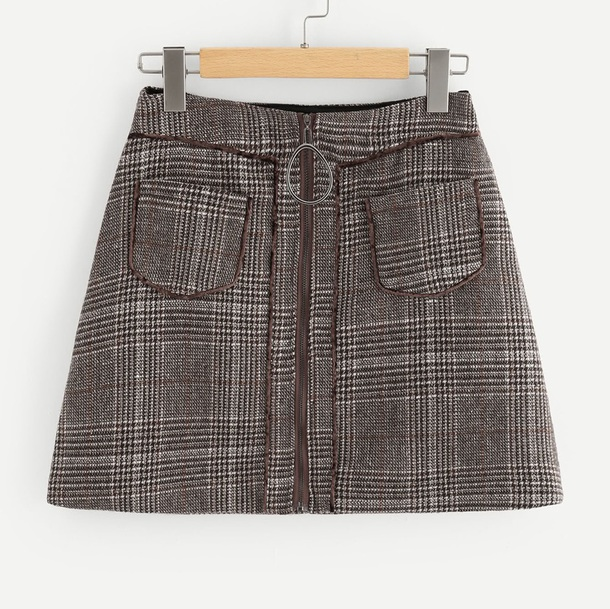 skirt girly zip zipped skirt plaid plaid skirt