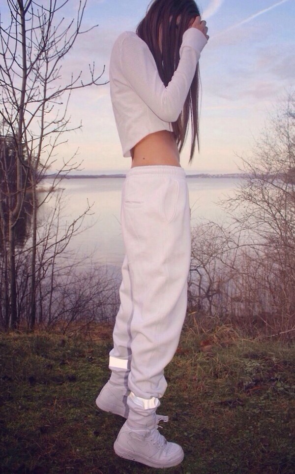 pants sweatpants white all white outfit women pants baggy all white everything